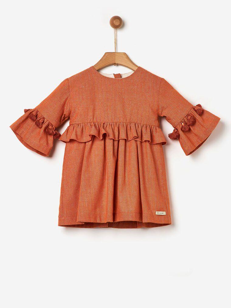 Φόρεμα Υφαντό με Βολάν Yell-oh