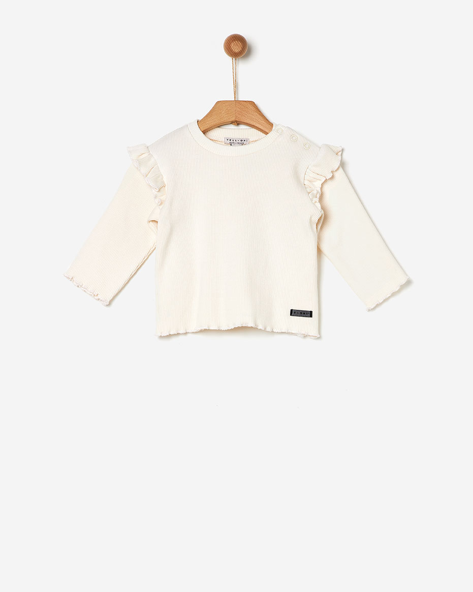T-shirt Ριμπ με Βολάν Yell-oh